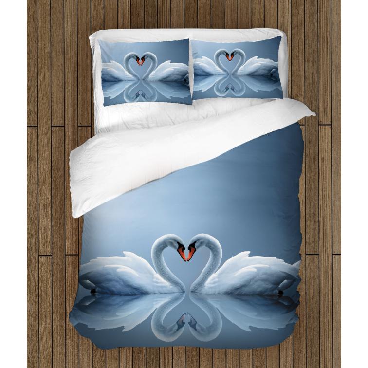 Спално бельо със завивка 3D Влюбени лебеди - Swans In Love