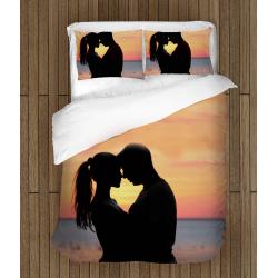 Спално бельо със завивка 3D Влюбени под залеза - Sunset In Love