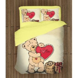 Роматично спално бельо Влюбено мече - Teddy Bear in Love