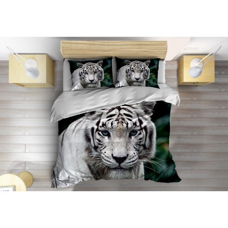 3D Спален комплект със завивка Бял тигър - White Tiger