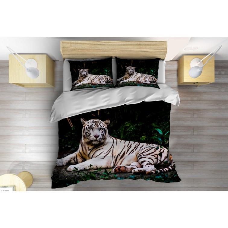 3D Спален комплект със завивка Бял тигър в гората - White Tiger in the Forest