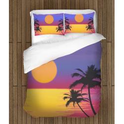 Спално бельо 3D със завивка Залез на брега - Sunset On The Sea