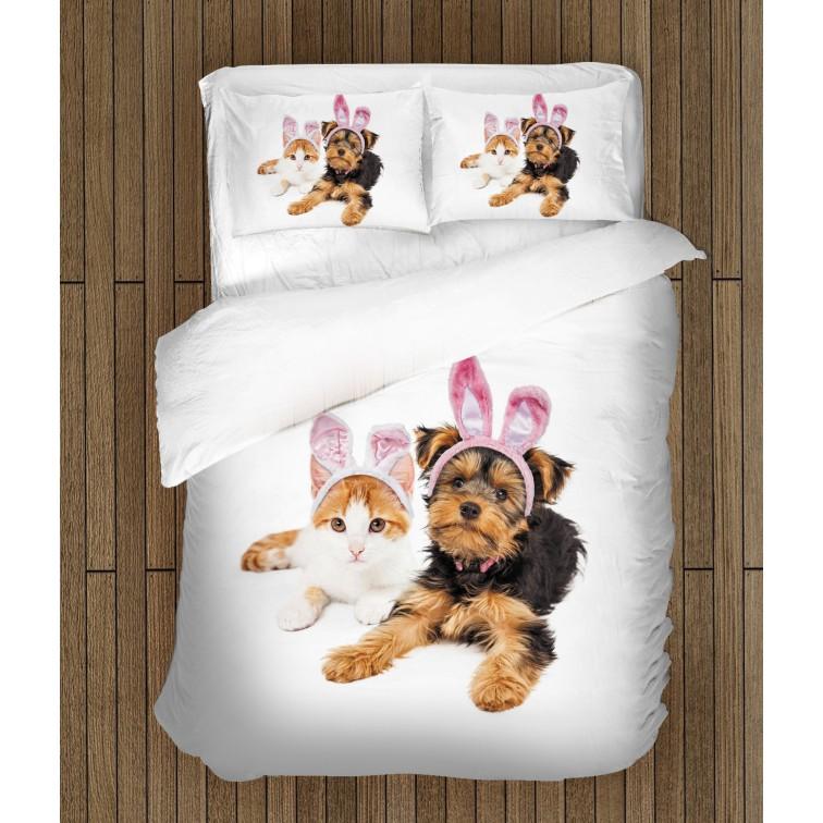 Спално бельо Куче и котка на Великден - Easter Dog and Cat